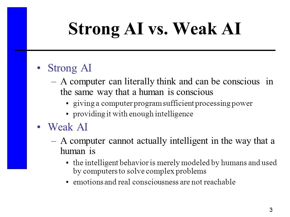 Strong AI vs. Weak AI Strong AI Weak AI
