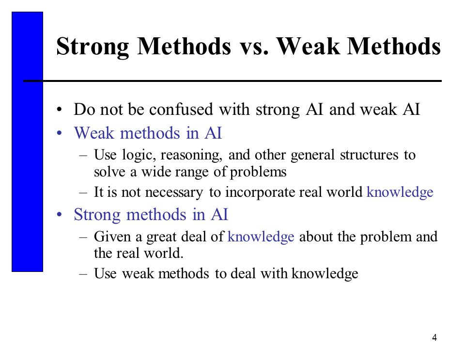 Strong Methods vs. Weak Methods