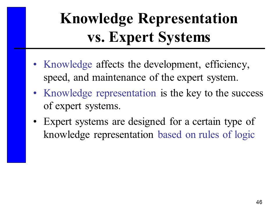 Knowledge Representation vs. Expert Systems