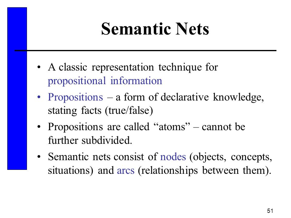 Semantic Nets A classic representation technique for propositional information.