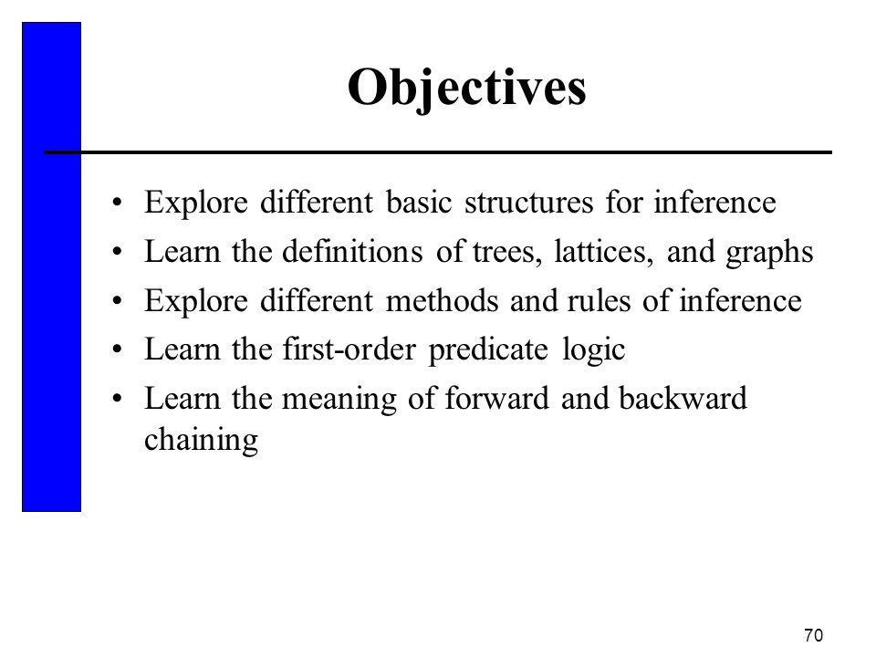 Objectives Explore different basic structures for inference