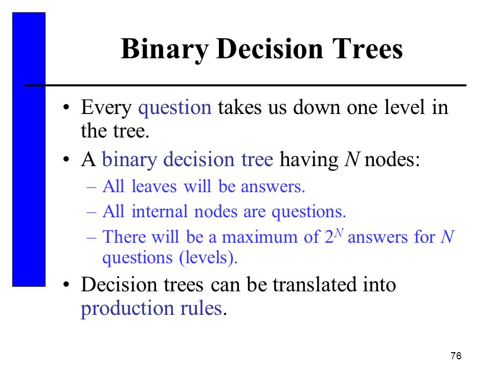 Binary Decision Trees Every question takes us down one level in the tree. A binary decision tree having N nodes: