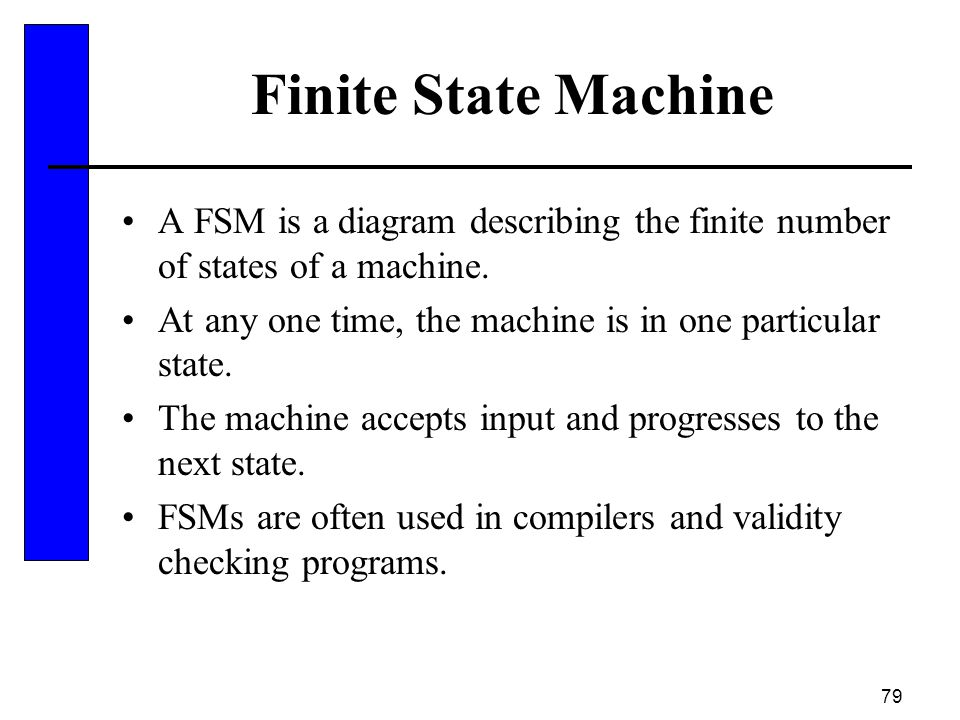 Finite State Machine A FSM is a diagram describing the finite number of states of a machine.