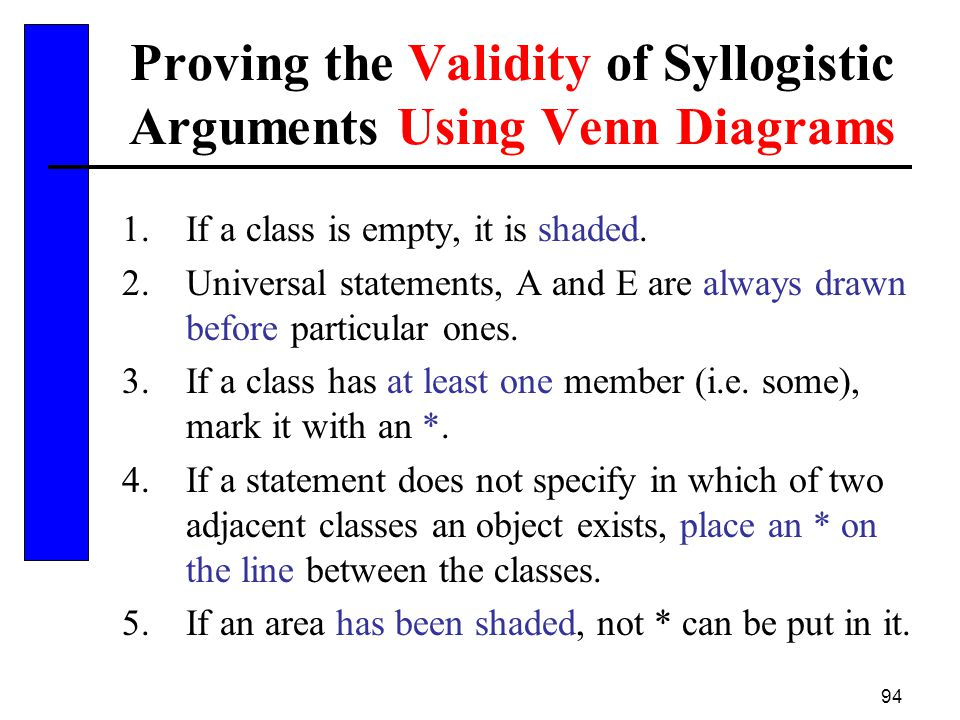 Proving the Validity of Syllogistic Arguments Using Venn Diagrams
