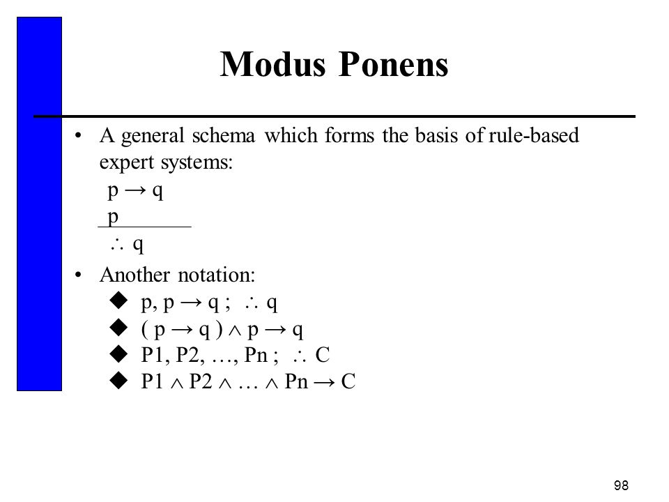 Modus Ponens A general schema which forms the basis of rule-based expert systems: p → q. p.  q.