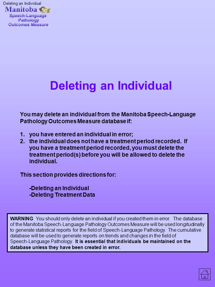 Deleting an Individual