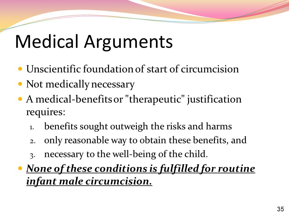 Medical Arguments Unscientific foundation of start of circumcision