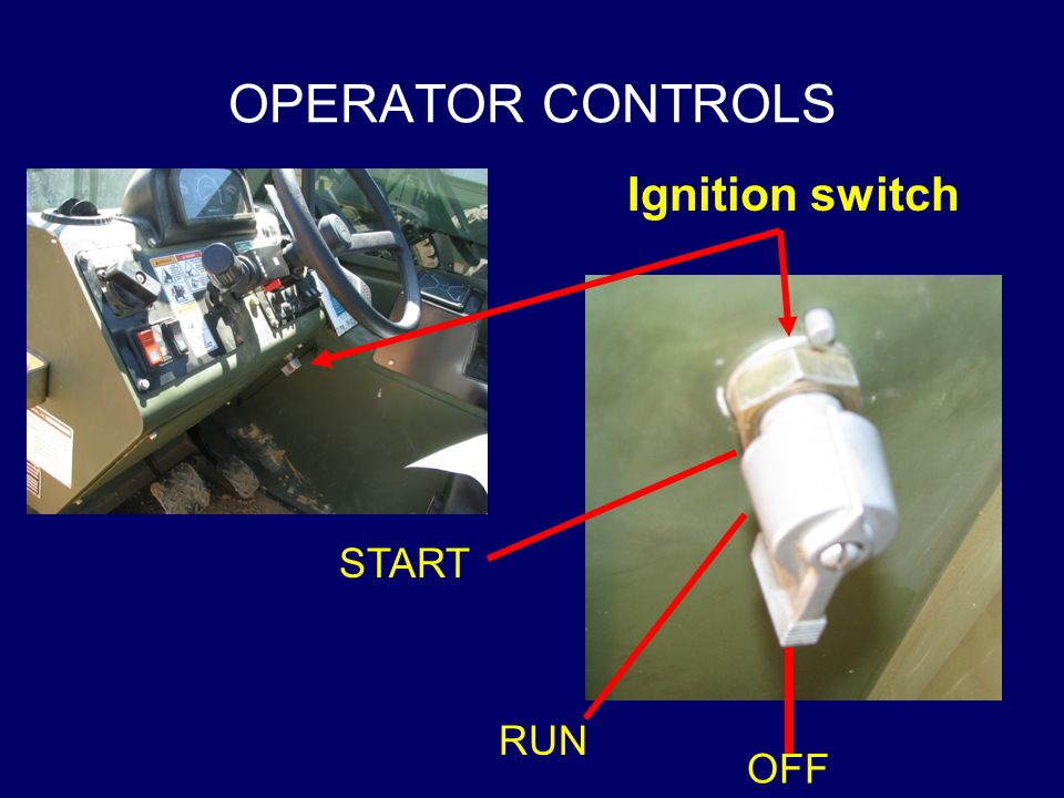 OPERATOR CONTROLS Ignition switch START RUN OFF