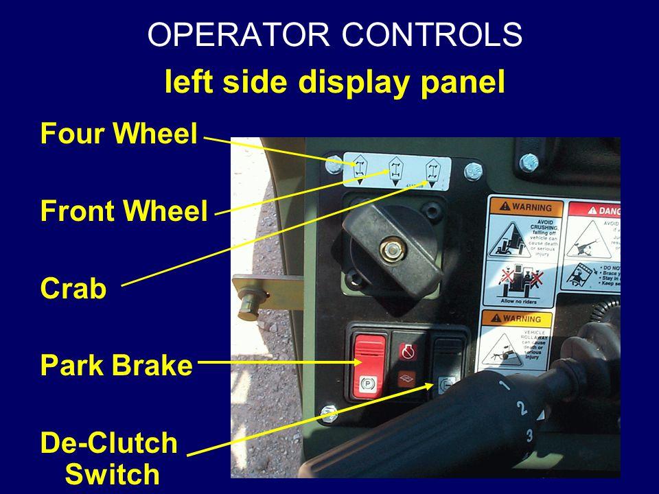 OPERATOR CONTROLS left side display panel