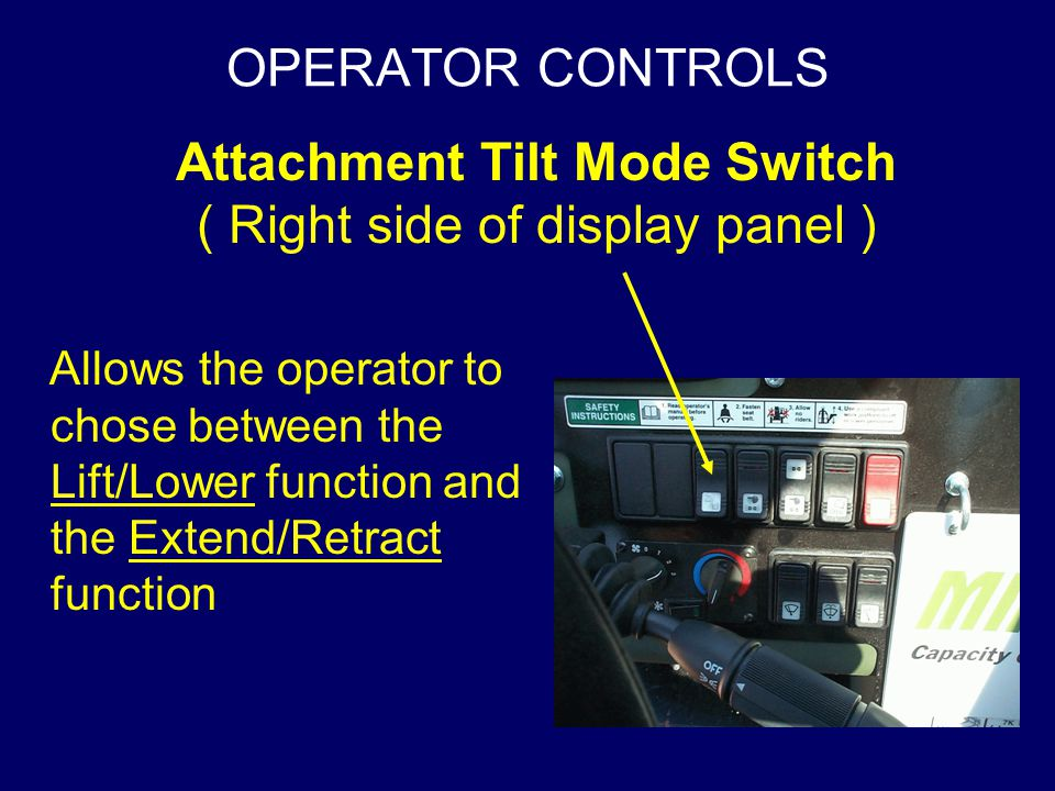 Attachment Tilt Mode Switch ( Right side of display panel )