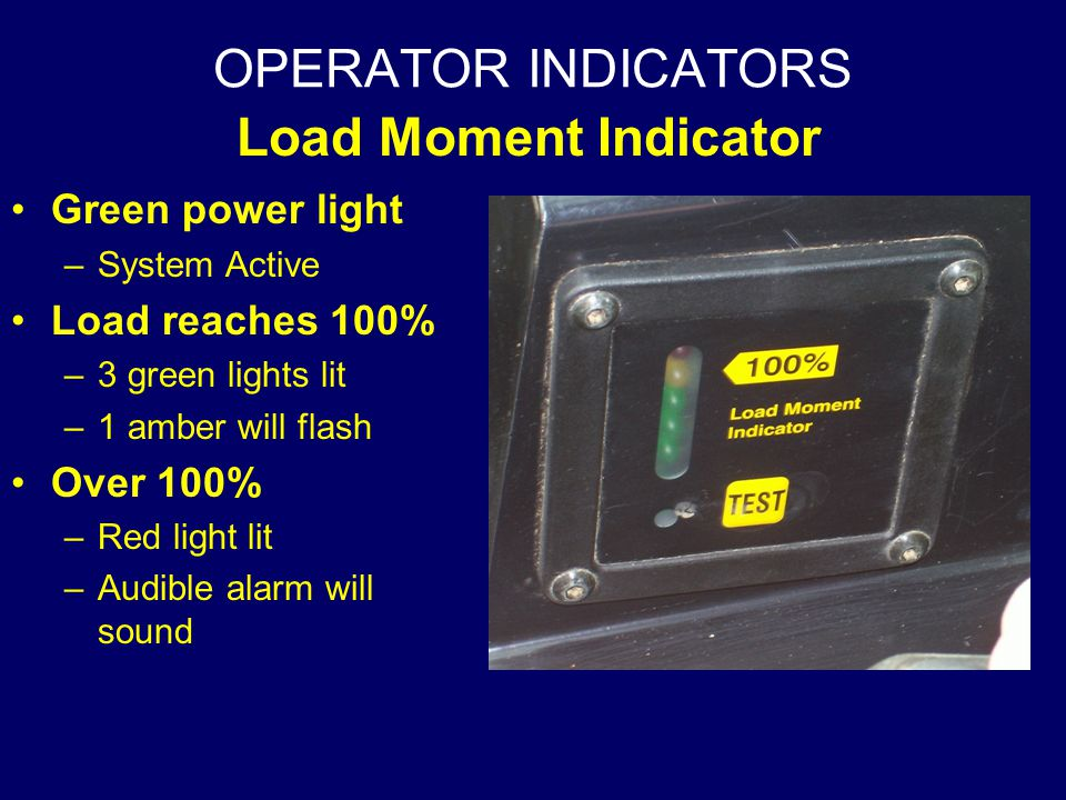 OPERATOR INDICATORS Load Moment Indicator Green power light