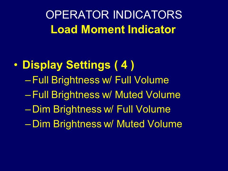 OPERATOR INDICATORS Load Moment Indicator Display Settings ( 4 )