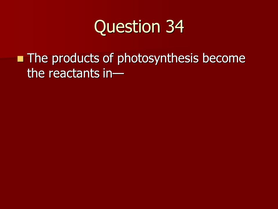 Question 34 The products of photosynthesis become the reactants in—