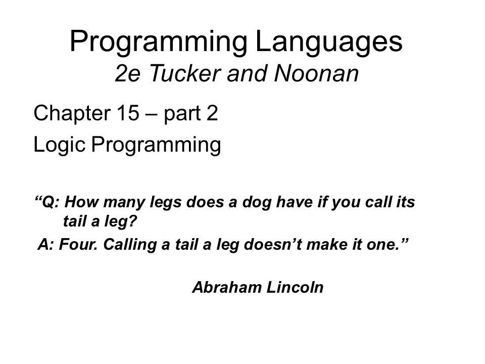 Programming Languages 2e Tucker and Noonan