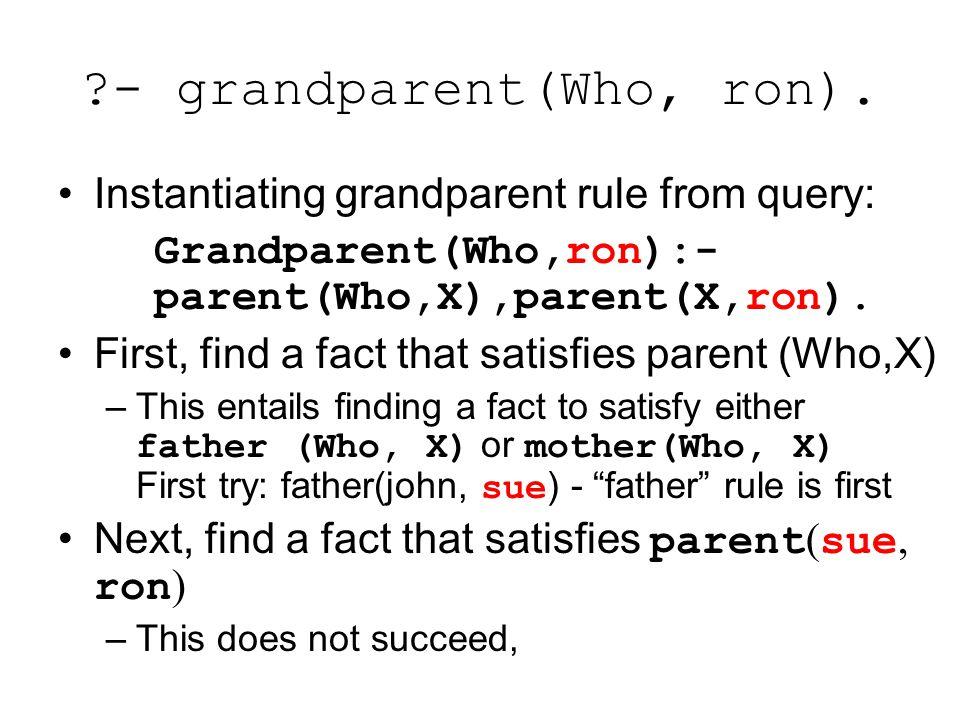 - grandparent(Who, ron).