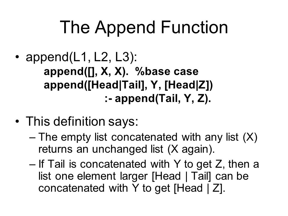 The Append Function append(L1, L2, L3): This definition says: