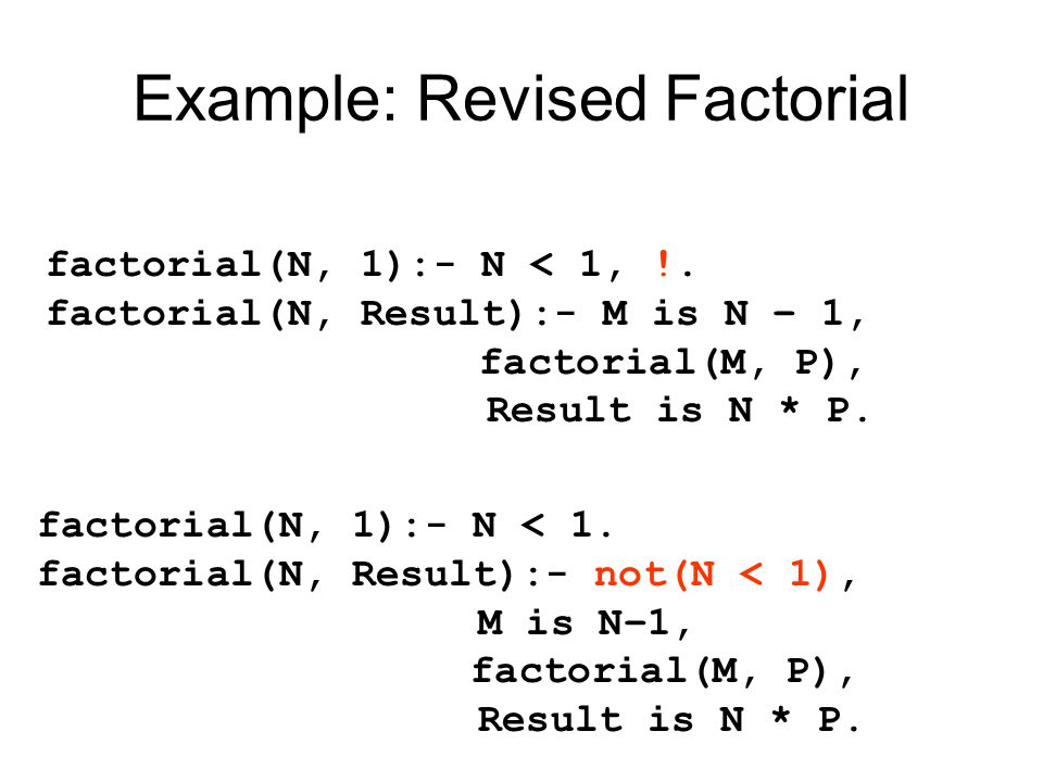 Example: Revised Factorial