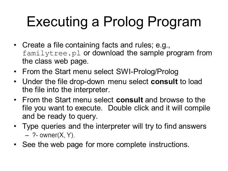 Executing a Prolog Program