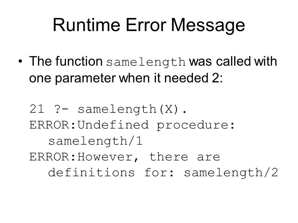 Runtime Error Message