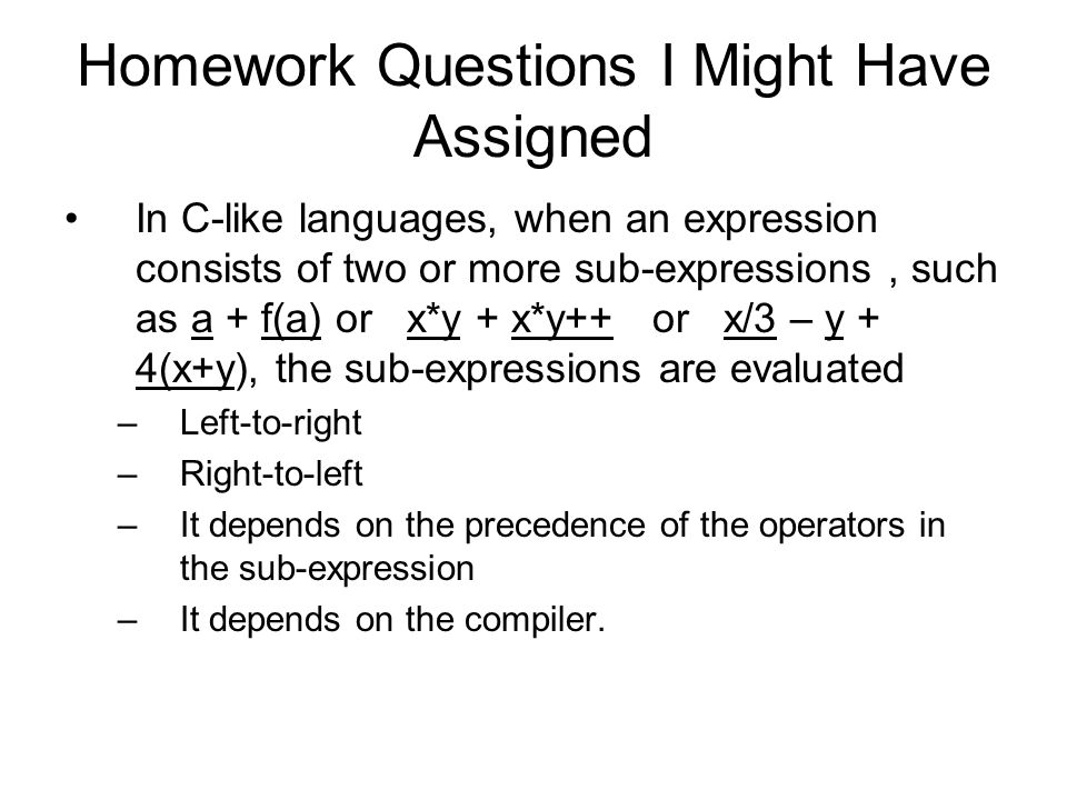Homework Questions I Might Have Assigned