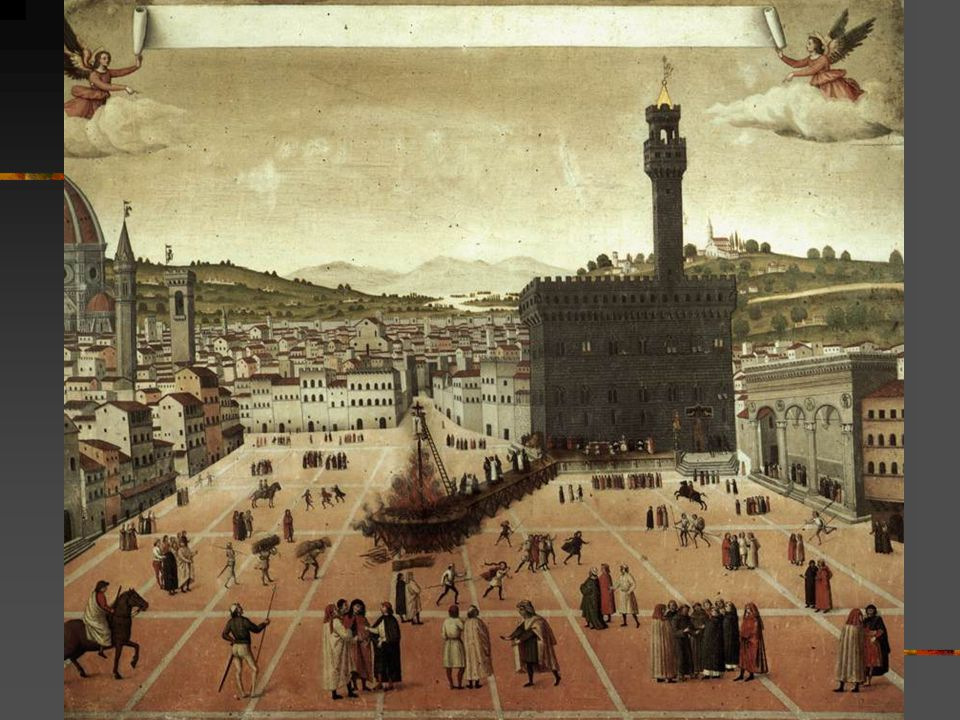 The monk Savonarola s activities, which were increasingly taking on the appearance of fanaticism, caused more and more people to oppose the preacher.