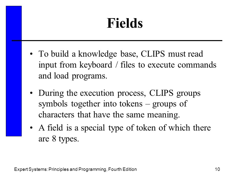 Fields To build a knowledge base, CLIPS must read input from keyboard / files to execute commands and load programs.