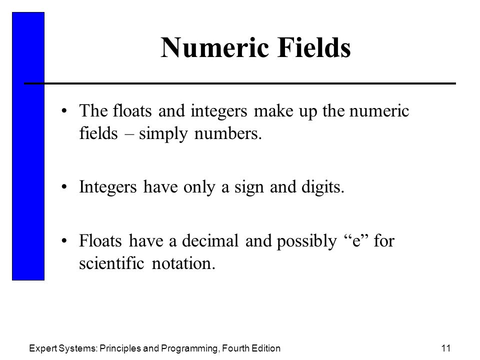 Numeric Fields The floats and integers make up the numeric fields – simply numbers. Integers have only a sign and digits.