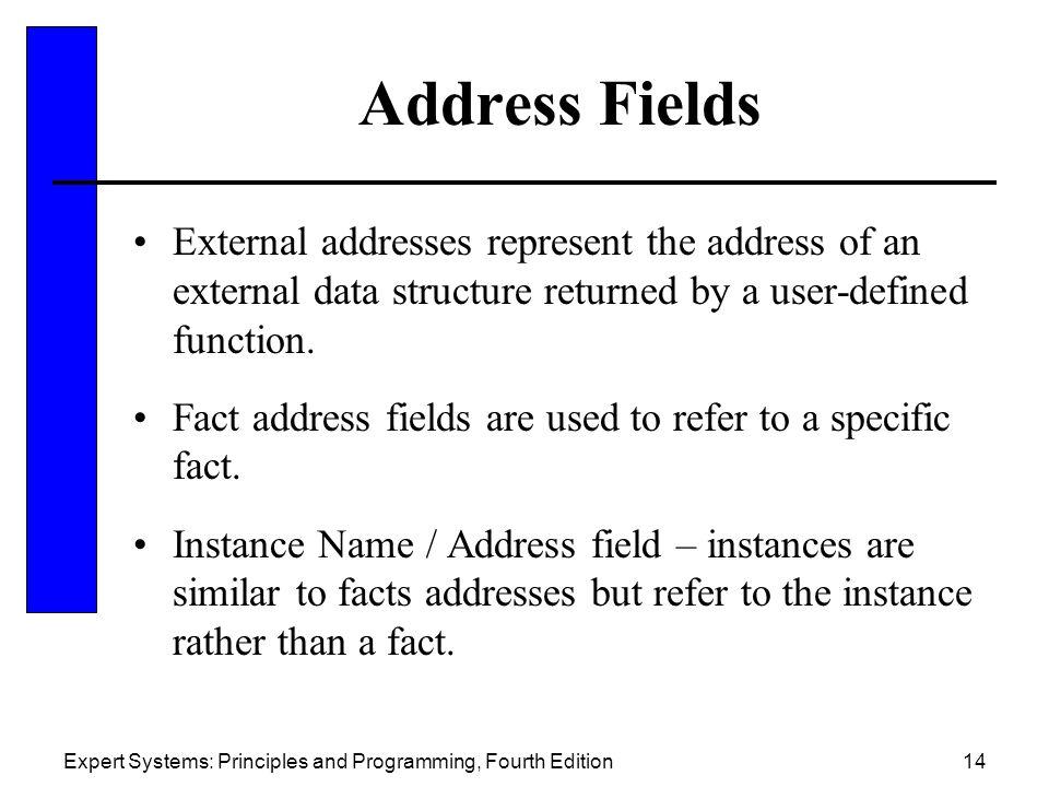 Address Fields External addresses represent the address of an external data structure returned by a user-defined function.