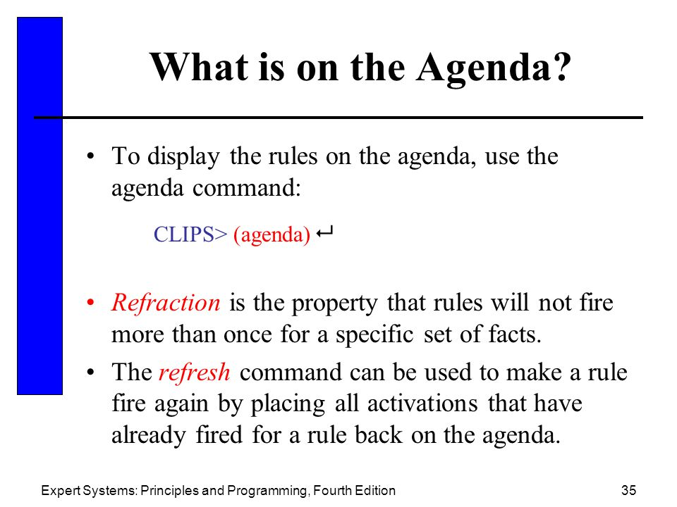 What is on the Agenda To display the rules on the agenda, use the agenda command: CLIPS> (agenda) 