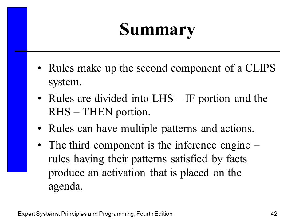Summary Rules make up the second component of a CLIPS system.