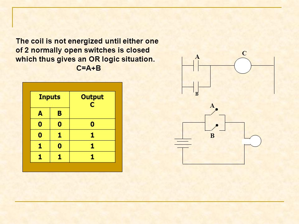 The coil is not energized until either one of 2 normally open switches is closed which thus gives an OR logic situation.
