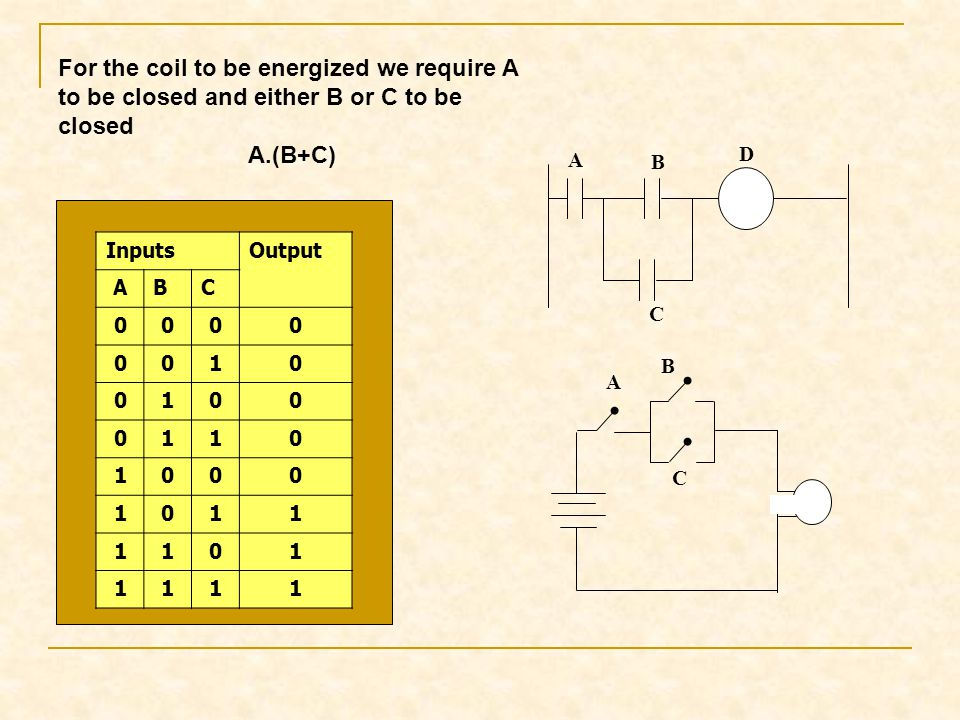 For the coil to be energized we require A to be closed and either B or C to be closed