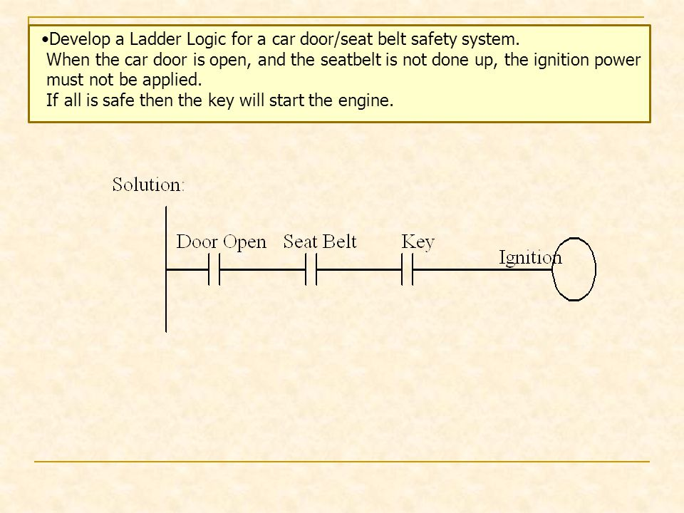 Develop a Ladder Logic for a car door/seat belt safety system