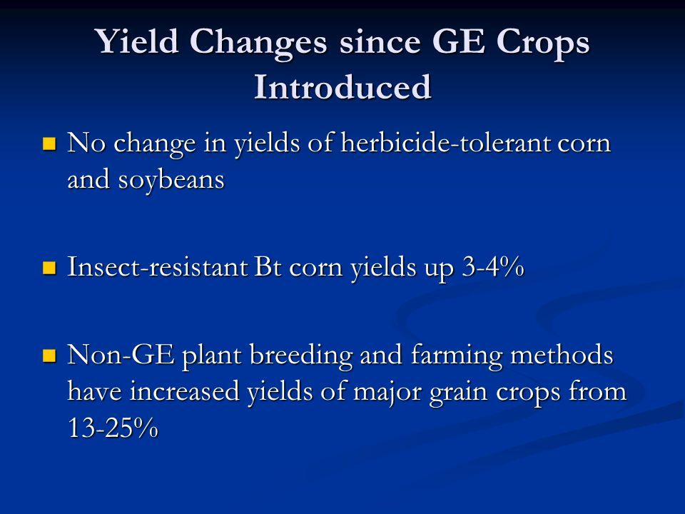 Yield Changes since GE Crops Introduced