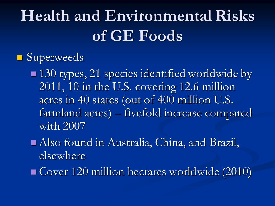 Health and Environmental Risks of GE Foods