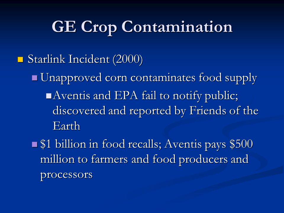 GE Crop Contamination Starlink Incident (2000)