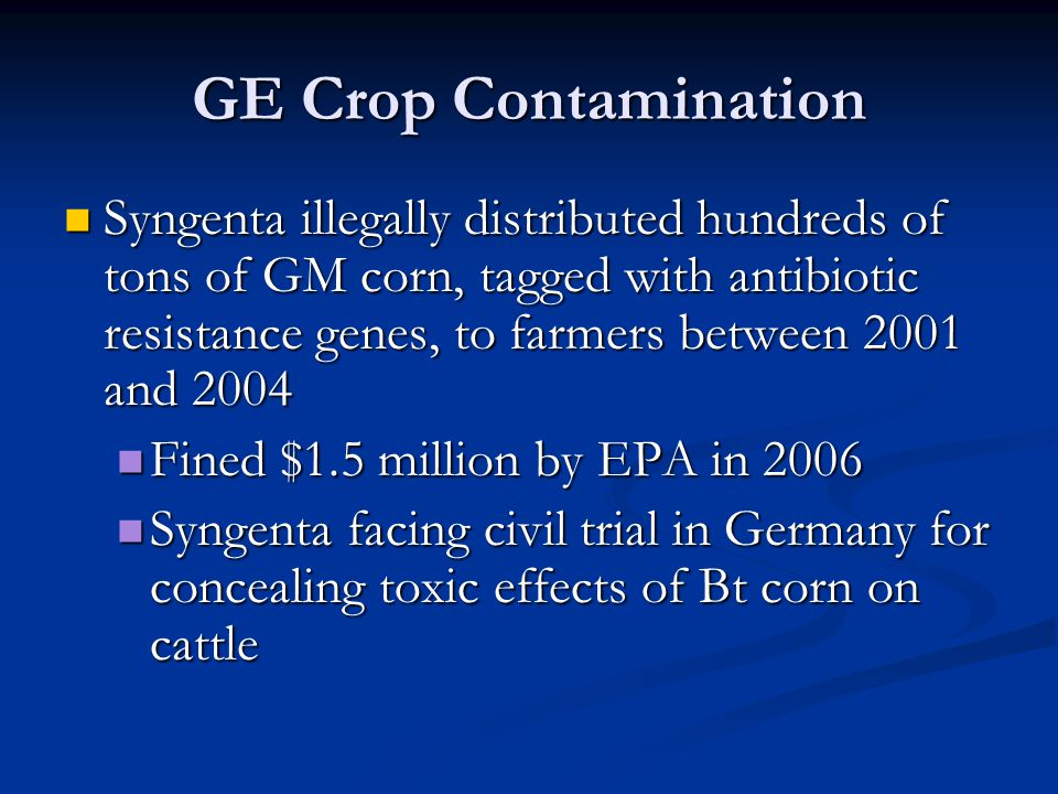 GE Crop Contamination