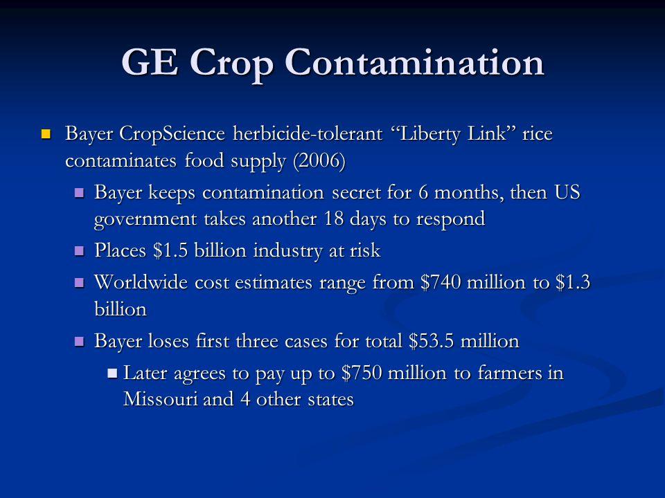 GE Crop Contamination Bayer CropScience herbicide-tolerant Liberty Link rice contaminates food supply (2006)