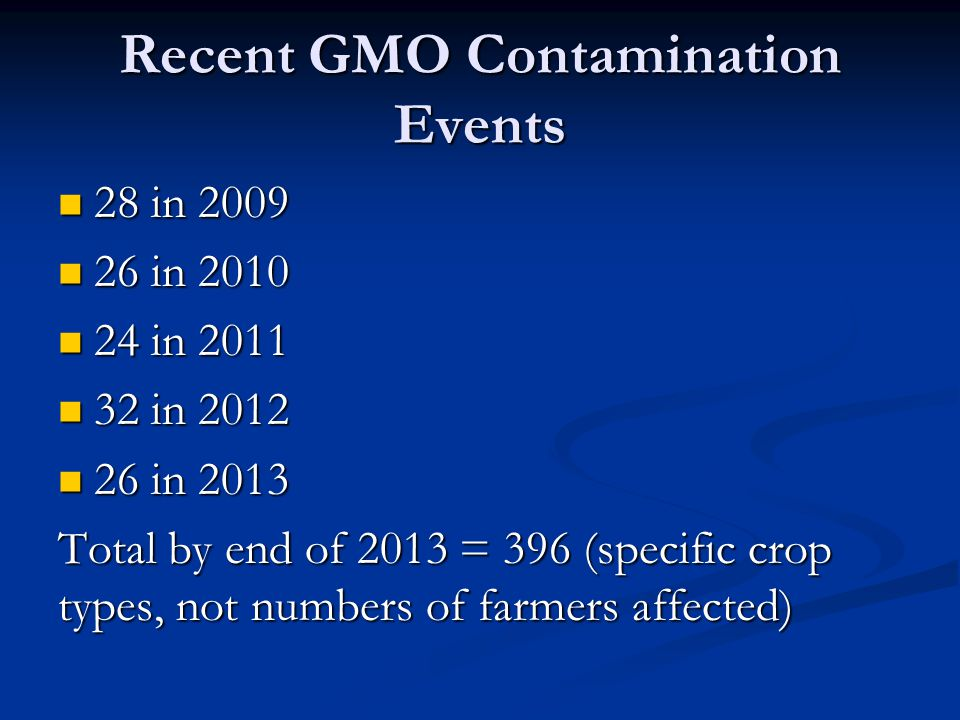 Recent GMO Contamination Events