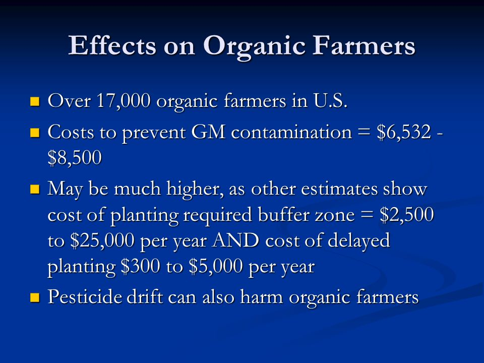 Effects on Organic Farmers