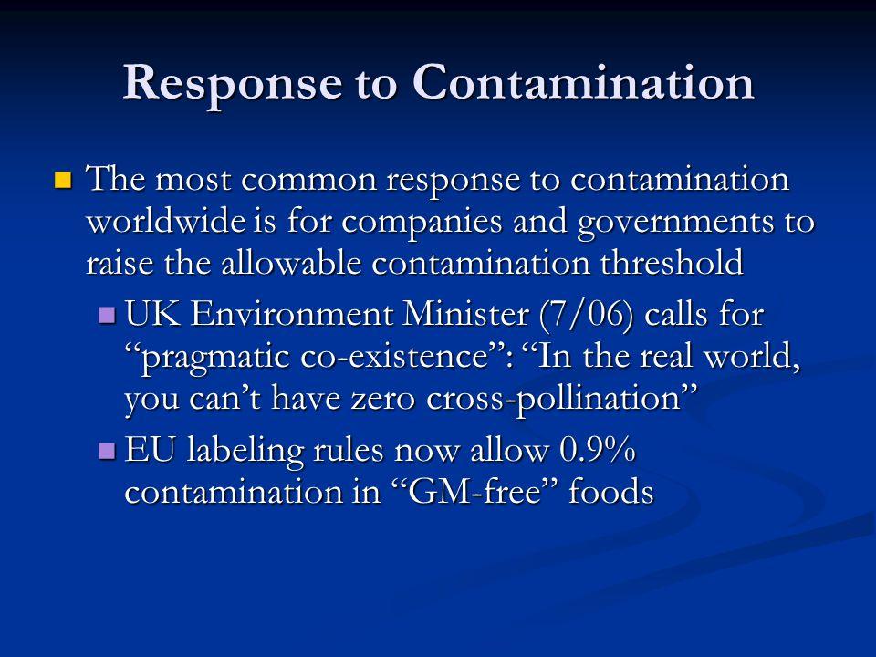 Response to Contamination