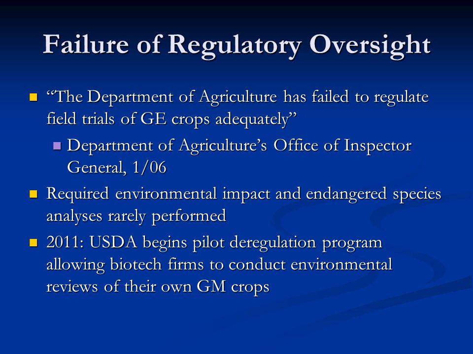 Failure of Regulatory Oversight