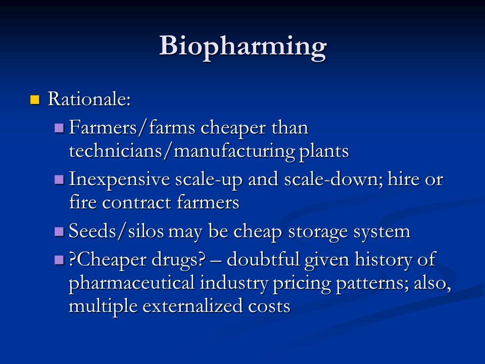 Biopharming Rationale: