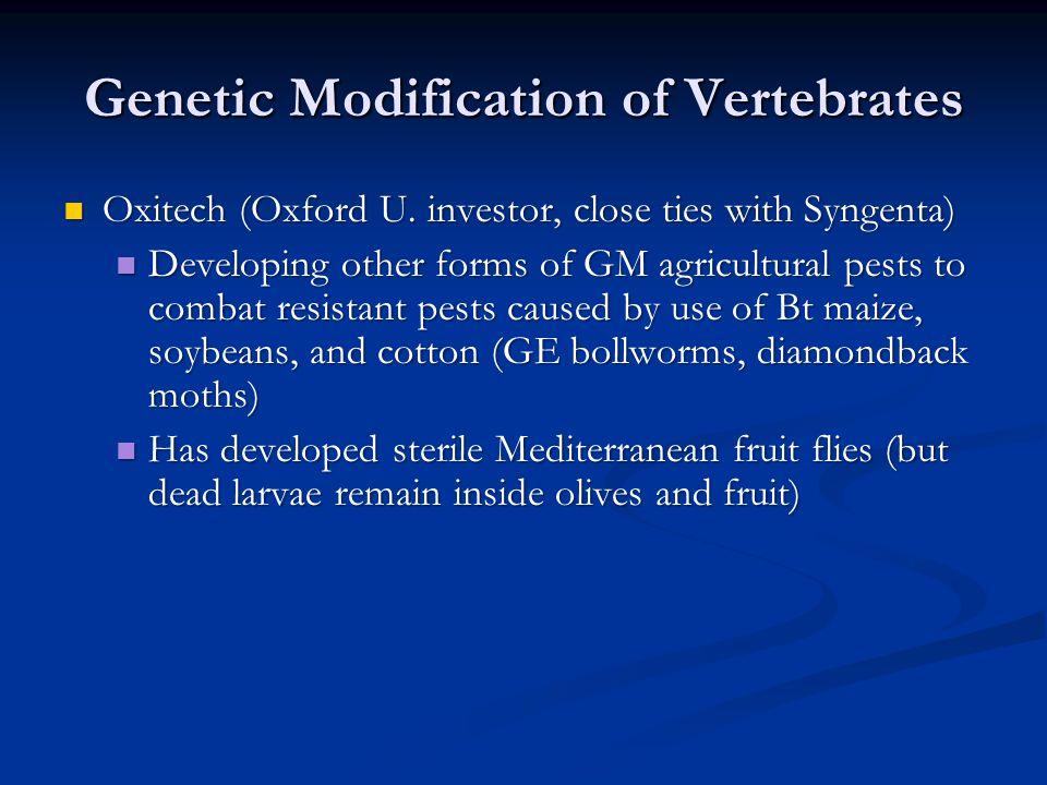 Genetic Modification of Vertebrates
