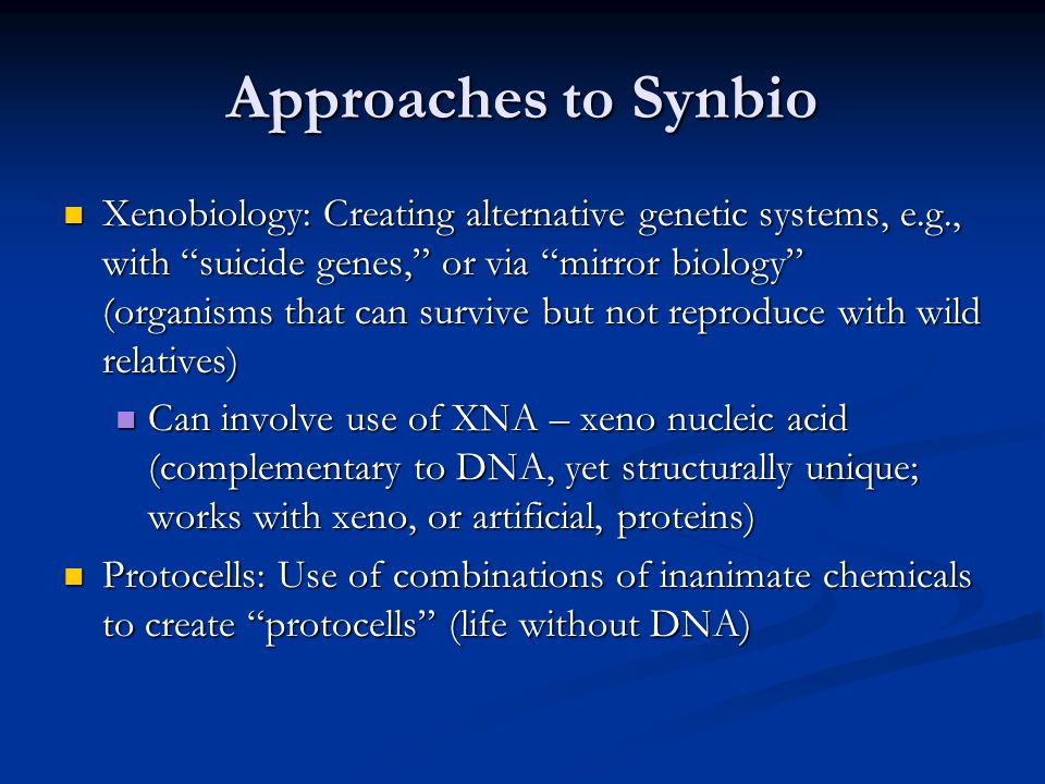 Approaches to Synbio