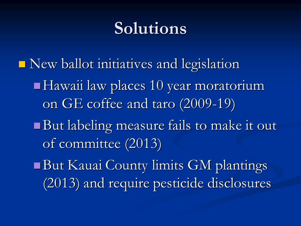 Solutions New ballot initiatives and legislation