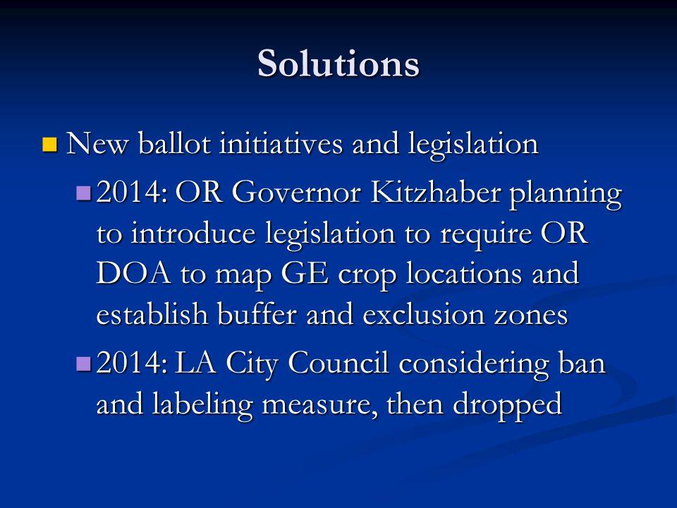 Solutions New ballot initiatives and legislation