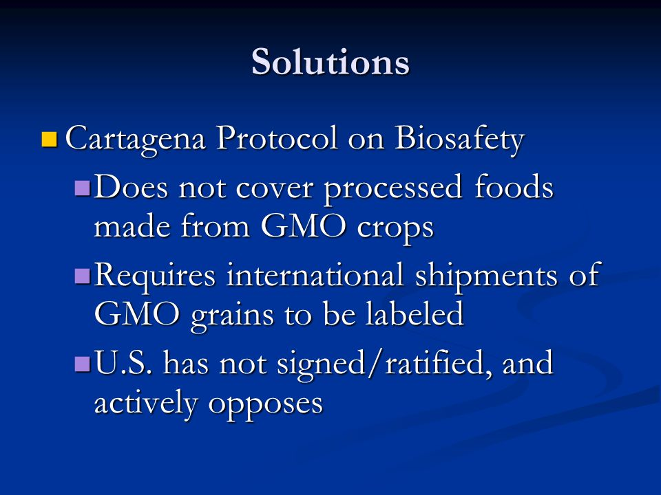 Solutions Cartagena Protocol on Biosafety