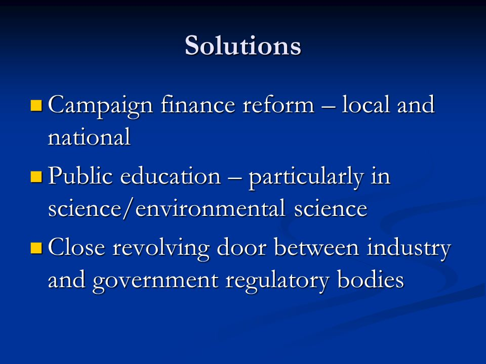 Solutions Campaign finance reform – local and national