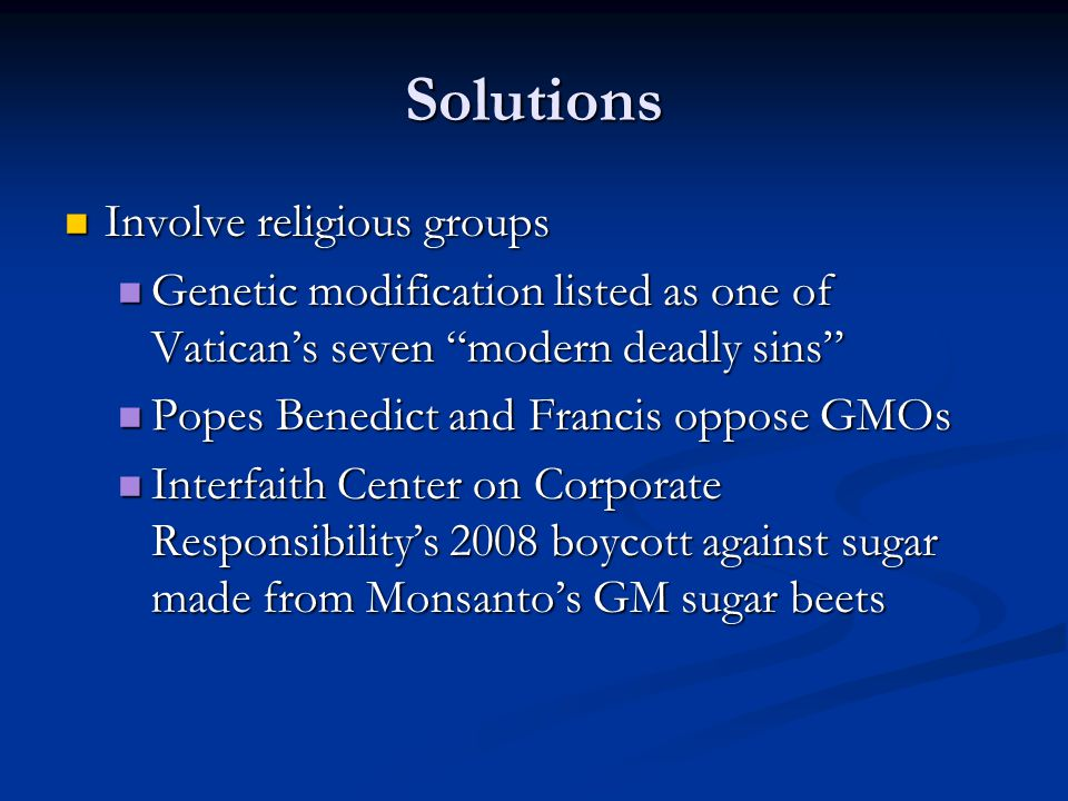 Solutions Involve religious groups